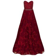 Jovani Embellished Floral Appliqué Gown (4.350 BRL) ❤ liked on Polyvore featuring dresses, gowns, jovani dresses, red gown, floral dresses, red dress and red ball gown