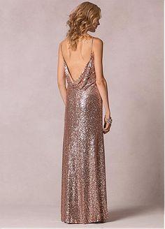 Shining Sequin Lace Spaghetti Straps Sheath Bridesmaid Dresses