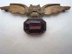 Antique bat brooch with large amethyst, WOW love it and amethyst is my birth stone!!