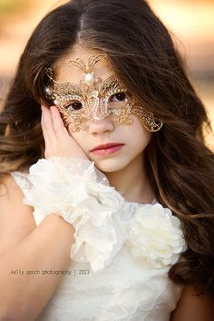 Girls Masquerade Mask---Gold Butterfly---Flower Girl--Weddings--Pageants--Masquerade Ball--Portraits--Costume Parties