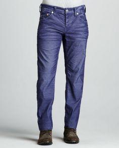 True Religion Blue Geno Slim Corduroy Pants