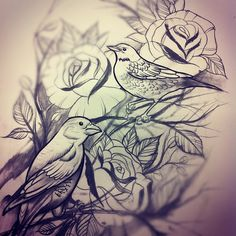 rose and bird tattoo. Would look awesome as black and grey or bright colors