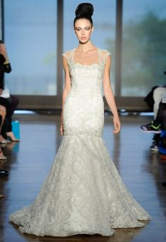 Ines Di Santo Collection Spring 2014 Wedding Dress. Capped sleeves are not blinged.