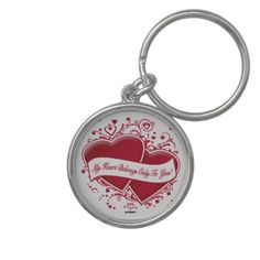 My Heart Belongs Only To You! Red Hearts Key Chain   •   This design is available on t-shirts, hats, mugs, buttons, key chains and much more   •   Please check out our others designs at: www.zazzle.com/ZuzusFunHouse*
