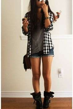 Plaid shirt with shorts