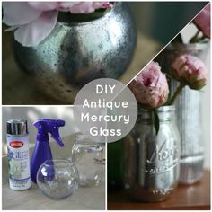 #DIY #mercury #glass jars! So pretty and easy to do! Just spray a little bit of water on the glass first, then spray with silver spray paint. When the paint is dry wipe away the water spots. Then use your new mercury glasses to decorate!