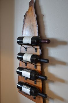Natural wood with live edge wine rack