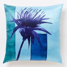 Roar + Rabbit Thistle Silhouette Silk Pillow Cover - Bright Turquoise #westelm