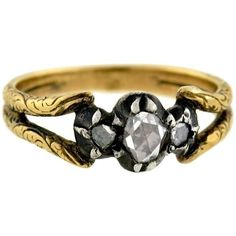 Preowned Georgian French Mixed Metals Rose Cut Diamond Ring ($1,650) ❤ liked on Polyvore featuring jewelry, rings, red, gold band engagement rings, wide-band diamond rings, red engagement rings, swirl engagement rings and pre owned diamond rings