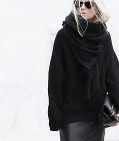Black oversized knit, cashmere throw + leather skirt
