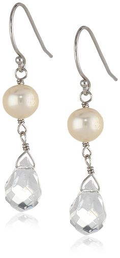 Sterling Silver White Freshwater Cultured Pearl and Crystal Drop Earrings => Requires your immediate attention, additional info here : Jewelry