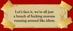 Graphic - Anonymous Quote - Let's face it, we are all just a bunch of fucking morons running around like idiots