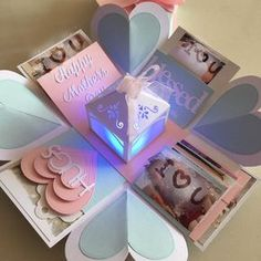 Mothers Day Explosion Box With Lighthouse , 4 Waterfall In Pastel Color