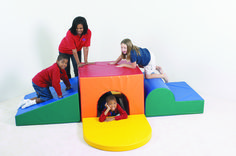 """School Age Tunnel Climber Five separate oversize soft 36"""" wide play modules attach together with hook & loop fasteners. Floor Space: 108"""" sq. x 27""""h. For ages 4 through 10 years. CF322-083 Ships Truck. Ships Truck. Sized for big 4's through school age. Heavy duty vinyl encases denser foam designed for bigger, more active bodies. #softplay #climber #childrensfactory"""