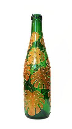 Hand painted wine bottle - Monstera