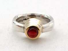 OOAK 1 Ct Ruby, 935 Silver & 900 Fine Yellow Gold Ring - Unique Modernist Design Ring - Passion Ring - Size 7 3/4