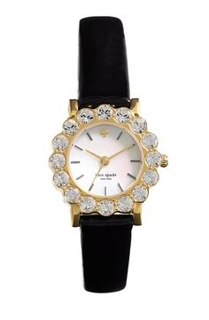kate spade new york 'belvedere' crystal bezel watch, 24mm Black/ Gold from Nordstrom on shop.CatalogSpree.com, your personal digital mall.