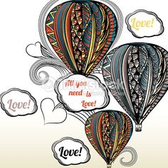 Vector Art : All you need is love. Air balloon with hippie style