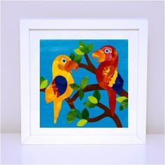 Art prints for kids bedrooms. Wise Macaws. Available in 12x12cm and 30x30cm prints.