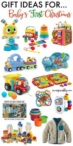 The best baby toys and gift ideas for baby's first Christmas. These gifts wi… The best baby toys and gift ideas for baby's first Christmas. These gifts will grow with baby well into the toddler years. Great picks for boys and girls! Baby's First Christmas Gifts, Babys 1st Christmas, Christmas Toys, Christmas Ideas, Preschool Christmas, Christmas Gifts For 1 Year Olds, Christmas Gifts For Toddlers, Christmas 2019, Christmas Presents