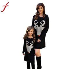 b1afce6b3 Christmas Dress Mom & Me Girls Women Dress Deer Printed Long Sleeve Dress.  Christmas FashionMom And Daughter MatchingMom DaughterMother ...