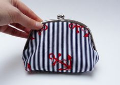 Coin purse  Red white and blue nautical anchor by cheekyleopard