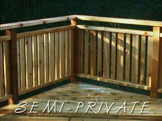semi-private railing Deck Railing Design, Patio Railing, Deck Stairs, Railing Ideas, Front Porch Deck, Screened Porch Designs, Front Yard Design, Privacy Fence Landscaping, Backyard Fences