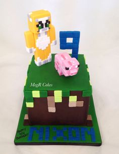 Cake option for my kid - he's obsessed with minecraft and stampy Kid Parties, 6th Birthday Parties, Boy Birthday, Birthday Cakes, Birthday Ideas, Minecraft Birthday Cake, Minecraft Cake, Minecraft Party, Lily Cake