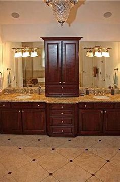 I like the divide of sinks in this master bath. His and hers counter space. But with white instead Modern Bathrooms Interior, Dream Bathrooms, Bathroom Interior Design, Beautiful Bathrooms, Luxury Bathrooms, Interior Ideas, Master Bath Remodel, Master Bathroom, Tuscan Bathroom