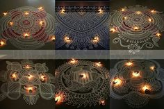 Kolams with white ,,, with detailed intricacies