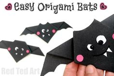 Super cute and easy Origami Bats for kids. This is  a great Origami for beginners project - as it is quick and easy to make. Then embellish it to make it super cute and fun! Brilliant little Halloween Craft for kids!