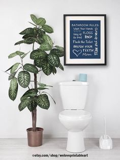 Kids Bathroom Art Decor, Bathroom Rules, Brush Your Teeth, Wash Your Hands