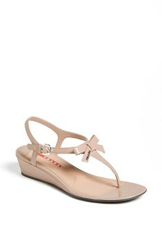 Prada 'Bow' Wedge Sandal available at #Nordstrom Wedding shoes?