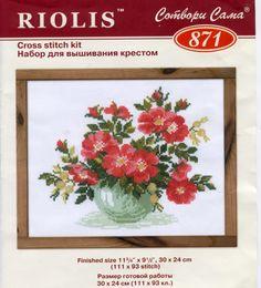 Gallery.ru / Фото #4 - Букет 3 - daniela1970 / dzika róża w wazonie 1/4 Cross Stitch Rose, Cross Stitch Flowers, Cross Stitch Embroidery, Fruit Flowers, Rose Flowers, Red Roses, Needlework, Crafts, Stitching