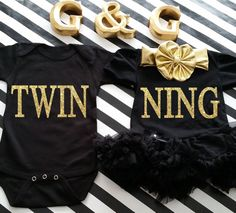 Black and Gold Glitter Twinning Boy and Girl Matching Shirt and Tutu Dress