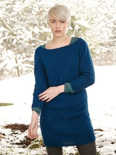 Langsett - Knit this womens stocking stitch tunic with textured side panels from Rowan Winterscapes, a design by Sarah Hatton using the beautifully soft Alpaca Merino DK (Baby Alpaca, Superfine Alpaca and Extra Fine Merino). With set-in sleeves and a boat neck, this knitting pattern is suitable for the beginner knitter.