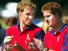 Prince Harry and Prince William applaud after the St. James's Place polo day charity match for the George Thomas Hospice Care at Beaufort Polo Club on July 17, 2004, in Tetbury, England.