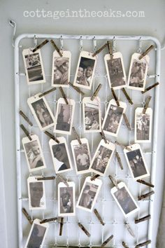 Using old crib bed springs for photo display…..or as a great garden trellis! There are so many ways to use these vintage treasures!