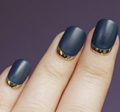 Metallic Reverse French Manicure with Matte Navy Nails