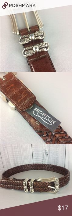 "BRIGHTON Braided Brown Belt Size Small 28 BRIGHTON Braided Brown Leather Belt. Beautiful silver metalwork on buckle.  Size Small 28.  Buckle can be worn anywhere on belt accommodating waists up to 33"".  Style # 97087. Like new! Brighton Accessories Belts"