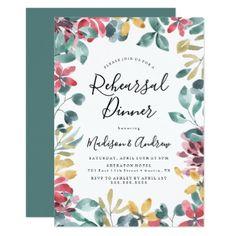 Elegant Blossoms Rehearsal Dinner Invitation - invitations custom unique diy personalize occasions