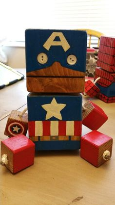 Captain America - wood toy, natural wood, wood robot, DIY toy #woodtoy