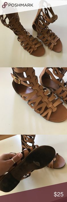 Tan gladiator with gold buckles sandals size 8 Tan gladiator with gold buckles sandals size 8 Shoes Sandals