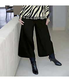 Trouser Waist Gaucho from Monroe and Main. Wide waistband slims; wide legs balance hips and bust. Finesse your curves with multiple belt loops. www.monroeandmain.com