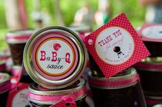 Bbq sauce in mason jars as favors for a Baby-Q Coed Baby Shower (BBQ)- 2 inch circles, cupcake toppers, round tags- PRINTABLE (pink, orange, lady bugs)
