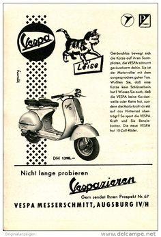 Original-Werbung/Inserat/ Anzeige 1956 - VESPA MESSERSCHMITT AUGSBURG ca. 115 x 180 mm