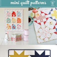 More than 20 adorable and simple Mini Quilt patterns that you can create in a weekend. Free mini quilt patterns and tutorials. Free Baby Quilt Patterns, Baby Quilt Tutorials, Beginner Quilt Patterns, Quilting For Beginners, Block Patterns, Mini Quilts, Baby Quilts, Spool Quilt, Alphabet Quilt