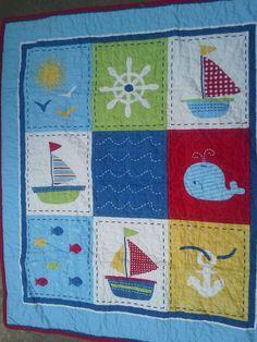 Crib Quilt Baby Boy Crib Ships Ahoy Nautical Crib by QuiltsForU2, $60.00
