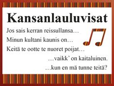 Tulostettavat Kansanlauluvisat ryhmätoimintaan #kansanlaulu #kansanmusiikki #laulu #leiri #leirikoulu #musiikki #ryhmätoiminta #muistisairaus #suomi #peli #visa Finland, Company Logo, This Or That Questions, Games, Gaming, Plays, Game, Toys