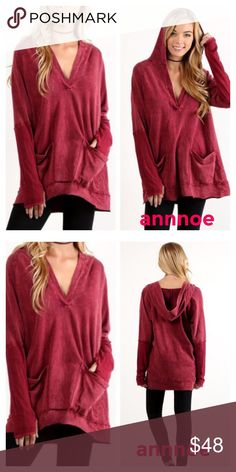 😍Just ordered I LOVE the color of this hoodie .  It is a burgundy mineral washed deep v neck top .  It has a hood and slouchy pockets .  MADE IN USA. Medium for CONNIE Tops Sweatshirts & Hoodies